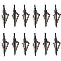 3Z Archery Paquete de 12 Tiro con Arco Puntas de Flecha Caza de 100 Grano Deportes al Aire Libre Práctica de Tiro Compuesto Arco y Ballesta (Negro)