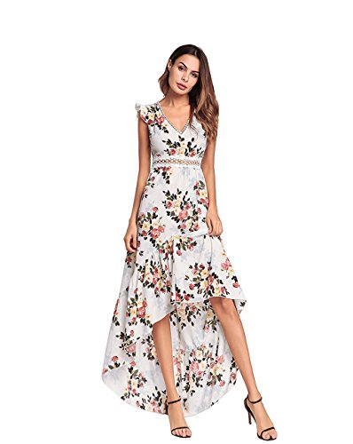 Lh$yu Women Vintage Halterneck Dress Sexy Floral Print Sleeveless Summer Beach Long Slip Black Evening Swing Party Dress -