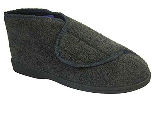 Herren Coolers Klettverschluss Stiefelette CLASSIC Qualität Hausschuhe Größe UK 789101112 Grau