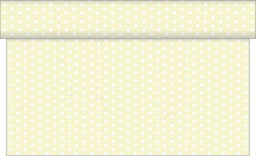 Tischläufer Iris / 40 cm x 24 m / viele Farben - Design mit weißen Punkten /Airlaid Einweg Tischläufer hochwertig (Beige)