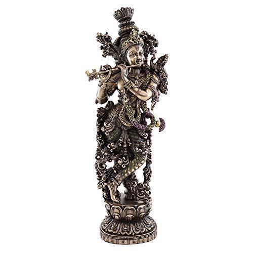 Top Collection Krishna Statue aus kaltgegossener Bronze, 38,1 cm H 12,7 cm W (Statue Von König Tut)