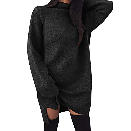 Damen Kleider,Elegant Strickkleid Pullikleid Wasserfallausschnitt Langarm Sweaterkleider,Winter Warm Longpullover Freizeitkleid Dasongff Einfarbig Bodycon Kleid Lace Cowl