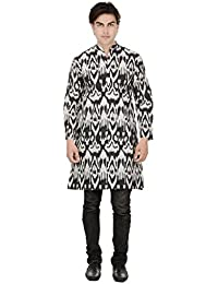 Beautiful Straight Printed Cotton Black Men's Long Kurta from the house of Aprique Fab