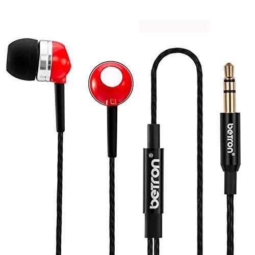 Auriculares Betron RK300 de alta calidad con tecnología de aislamiento de ruido y alto grado reforzado con cable de conexión enchapado en oro (Rojo)