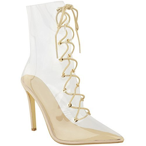 Fashion Thirsty Womens Ladies Lace up Clear Perspex High Heels Stilettos Ankle Calf Boots Size (Billig Fetisch Stiefel)