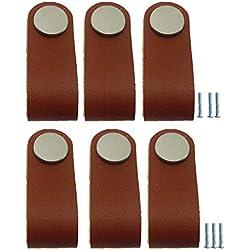 Sharplace 6 Piezas PU Manijas Hechas a Mano Accesorios de Muebles para Armario