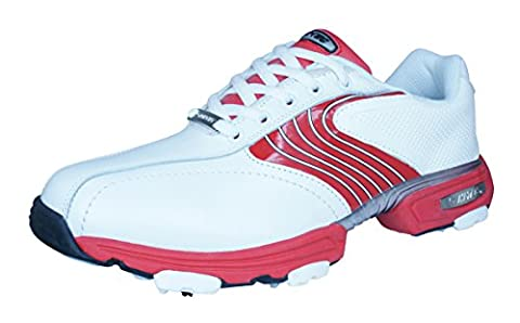 Hi-Tec HT Sport Waterproof Mens Leather Cleated Golf Shoes-White-6