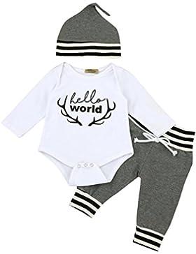 Lylita 3pcs Toddler neonato bambino ragazzo lettera ragazza vestiti set Romper + pantaloni + cappello Abiti