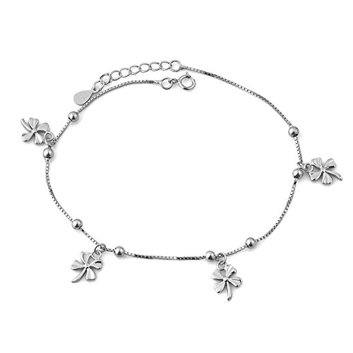Isajewelry Sterling Silver Lucky Four Leaf Clover Ankle Chain Bracelets Adjustable Shamrock Anklet Jewellery For Women
