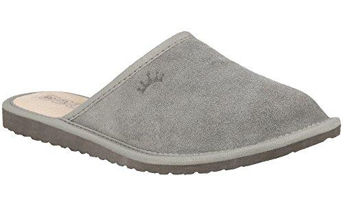 RBJ Damen Velours Leder Pantoffeln mit Wollinnenfutter – Atmungsaktiv, Warm und Gemütlich – IM Geschenkkarton (41, Grau/Keine Wolle) (Clogs Mit Memory-schaum)
