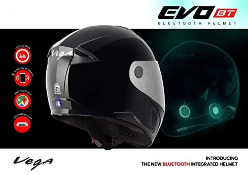 Vega Evo BT Bluetooth Helmet (Black, L)