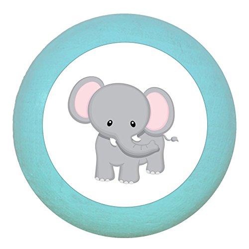 """Möbelgriff\""""Elefant\"""" türkis hell Holz Buche Kinder Kinderzimmer 1 Stück wilde Tiere Zootiere Dschungeltiere Traum Kind"""