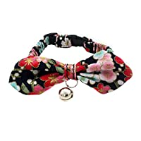 Catkoo Cat Accessories, Puppy Dog Flower Print Bowknot Bell Fold Collar Necklace Pet Neck Band Strap - Black XS
