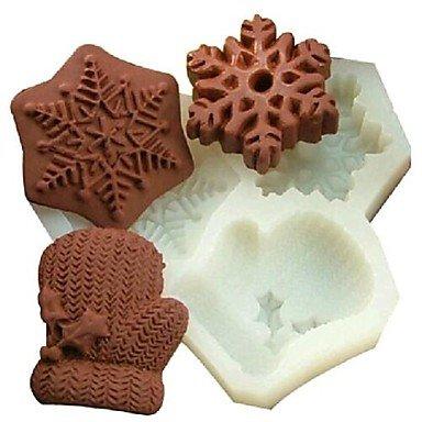 HuaJing guanti di natale fiocco di neve fondente strumenti di decorazione torta al cioccolato della torta del silicone della muffa, l11.7cm * w11cm * h1.7cm