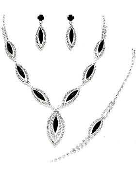 Schmuckanthony Schmuckset Silber Hochzeit Brautschmuck Kette Armband Ohrringe Kristall klar Transparent Schwarz