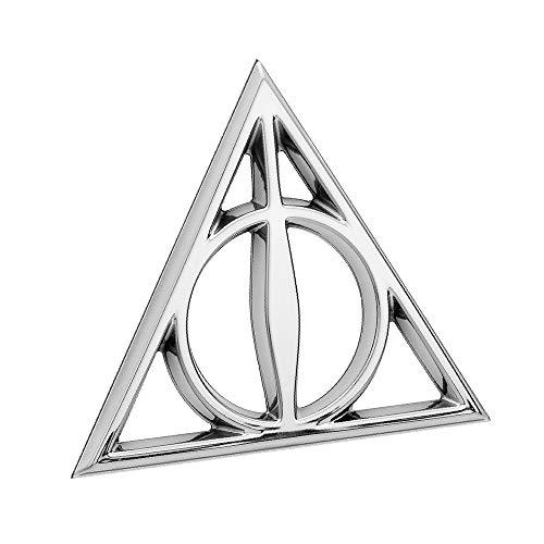 Fan Emblems Deatly Hallows 3D Auto Emblem Chrome, Harry Potter Automotive Aufkleber Abzeichen Biegt vollständig an Autos, Lastwagen, Motorräder, Laptops, Windows, fast alles