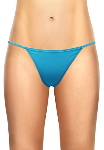 Underwear Womens Pack Cotton (Women's G string Pack of 4 T-back Underpants Blue XL/2XL)
