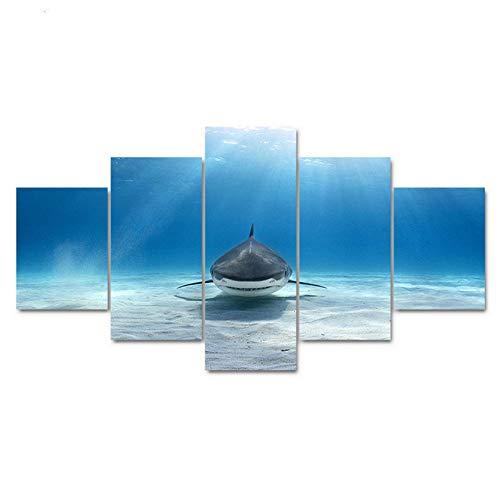 dsfytrew Kein Rahmen Leinwand Gedruckt Hd Poster Malerei Modulare 5 Panels Sea Bottom Shark Dekoration Wandbilder Wohnzimmer
