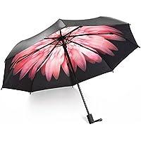 Ombrello da Viaggio Pieghevole Design, Ailina ventilato con doppia copertura, compatto per un facile trasporto, alta qualità 55MPH antivento, uomini e donne, protezione solare ombrellone bloccare 98% di raggi UV, Pink Daisy