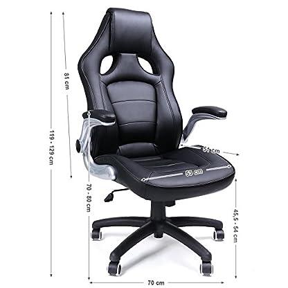 41d7BdAe7JL. SS416  - Songmics Silla giratoria de oficina Silla de escritorio Racing negro Recubrimiento de PU Reposabrazos ajustable OBG62B