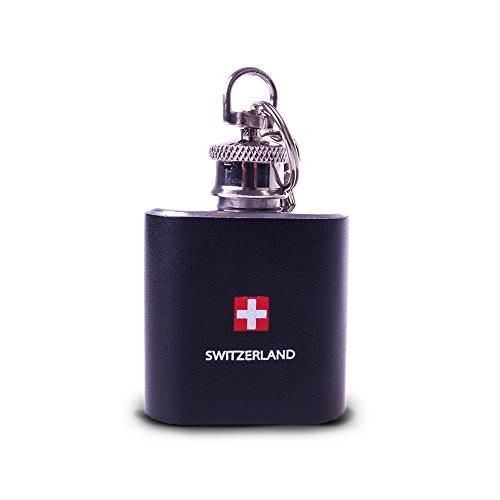 TopSpirit® Mini Flachmann Switzerland mit Schlüsselanhänger aus Edelstahl mit Kunstleder umhüllt 30 ml (Mini Flachmann Schlüsselanhänger)