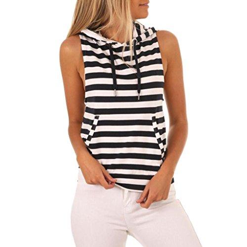 Damen Streifen T-Shirt mit Kapuze ärmellosen Casual Tops Bluse (S, Schwarz)