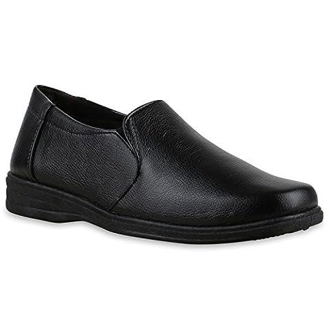 Leder Herren Klassische Slipper Herren Bequeme Halb Business Echtleder| Blockabsatz Schuhe 130651 Total Schwarz Glatt 42 | (Schwarz Glatt Mokassin)