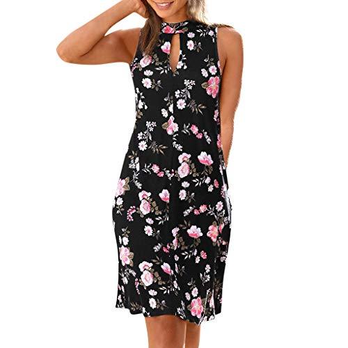 Sommer Grosse Grössen Ärmellos Lässig Drucken Party Mini Dresses for Women (Schwarz,L) ()