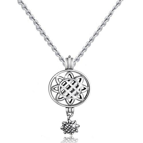 bamoer Honig Sunflowe Sterling Silber Medaillon Anhänger Halskette, 45,7cm Prinzessin - Prinzessin Käfig