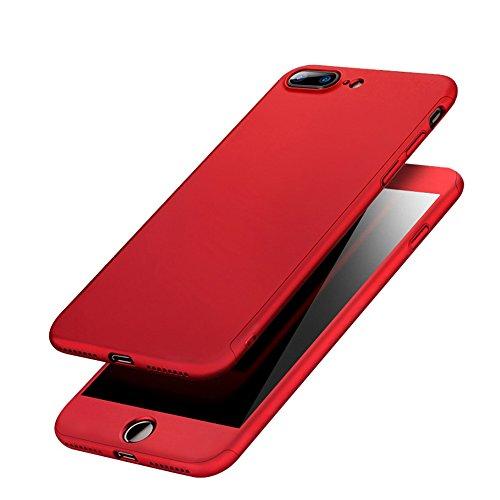 iPhone Hülle, 360°Komplettschutz [Schwarz] Vorder- und Rückseiten Schutz Schale mit integriertem Panzerglas in perfekte Passform / 2-teilige Premium 360 Grad PC-Material Schutzhülle Cover für iPhone 6 Rot