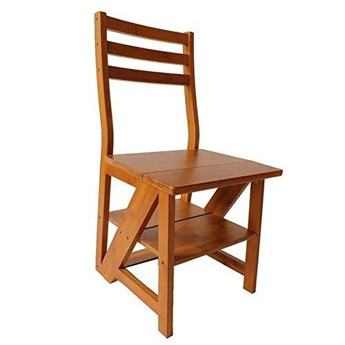 INMCJ Trittleiter Holzklappklappleiter Stühle Multifunktions-Esszimmerstuhl Bücherregal 3 Stufen Hocker