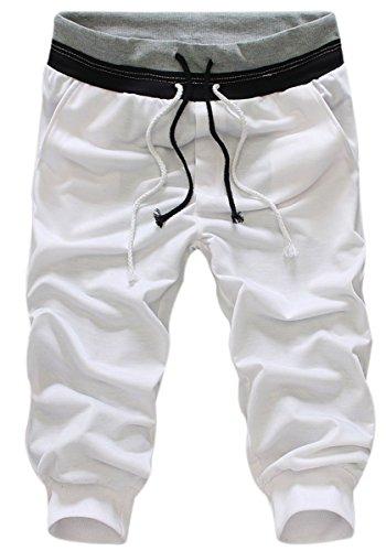 Panegy- Pantalon Court De Sport- Shorts De Gymnase- Hommes Casual Pants De Jogging-Blanc-M