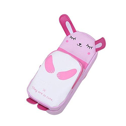 Bigboba creative cute Animal astuccio in pelle grande sacchetto della matita per gli studenti panda, Pelle, Pink, 21X8X6CM