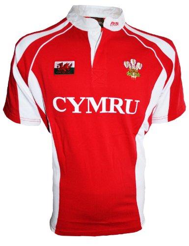 Maglia da rugby del galles, da bambino o bambina, cymru, per tifosi del galles, con colletto alla coreana welsh print x-large