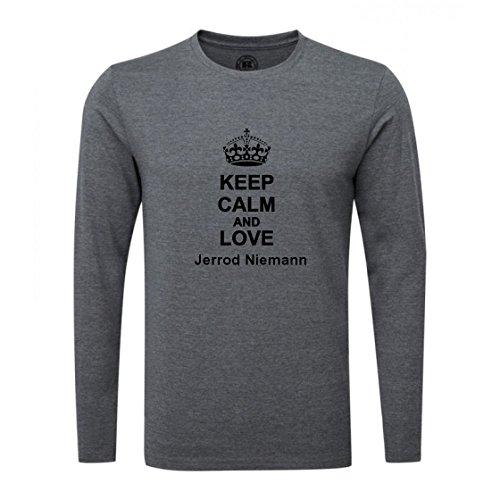 Keep Calm and Love Jerrod Niemann Luxury Slim Fit Long Sleeve Dark Grey T-Shirt