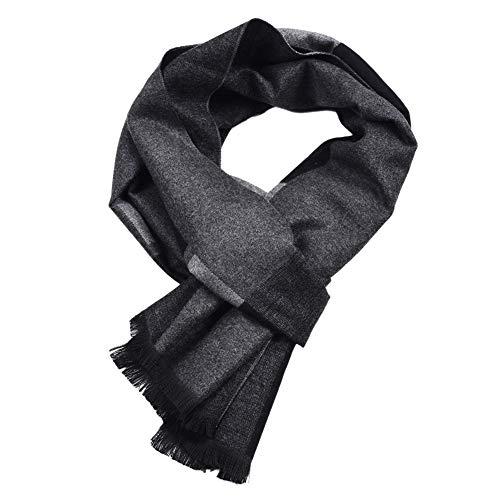 AchidistviQ Herren Schal mit Quaste, warm, langärmelig Schwarz/Grau