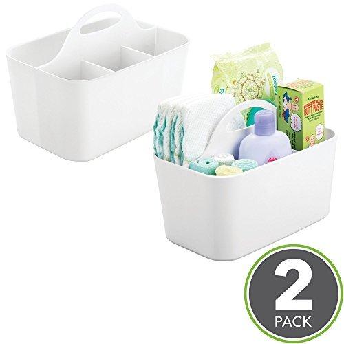 mDesign 2er-Set Aufbewahrungsbox Kinderzimmer mit 4 Fächern z. B. zur Babynahrung Aufbewahrung – Ordnungssystem aus Kunststoff für Babyzubehör & Co. mit Griff zum Transportieren – weiß (Bad-organizer-set)