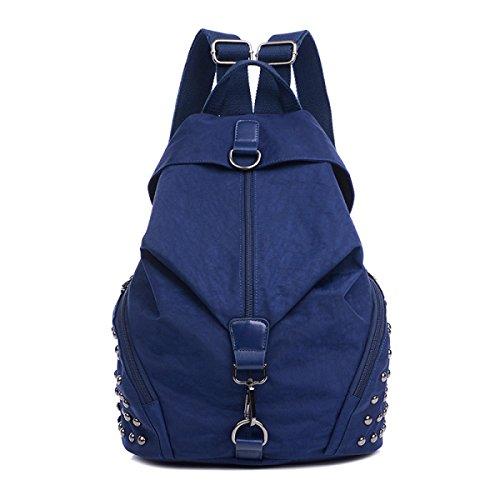 Weibliche Nylon Rucksack Nieten Umhängetasche Mode Handtaschen DarkBlue