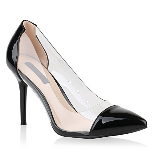 Damen Pumps Spitze Pumps Lack Transparent Stiletto High Heels Schuhe 144894 Schwarz Brooklyn 40 Flandell