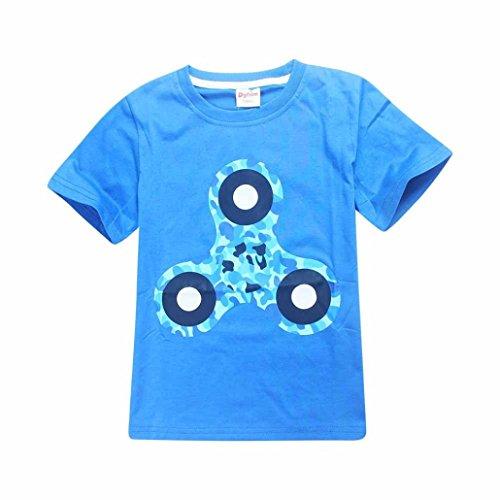 Elecenty T-Shirts Pullover Sommerbluse Jungen,Kinderkleidung Sommerkleidung Hand Spinner Drucken Mode Kinder Shirt Kurzarm Tops Bluse Pulli Hemden Hemd Blusen Oberteile Blusentop Outfits (140, Blau)