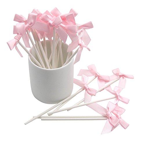 sweetmilktea 20 Stück handgefertigte rosa Schleife Party Supplies Cake Toppers Pop Sticks