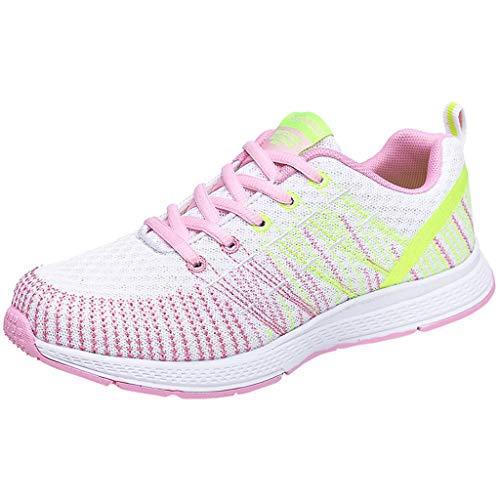 DAIFINEY Damen Sneakers Walkingschuhe Leichte Atmungsaktiv Freizeitschuhe Outdoor Gym Bequem Turnschuhe Laufschuhe Sportschuhe Wanderschuhe Mesh-Bequeme Schuhe(Pink/Pink,38)