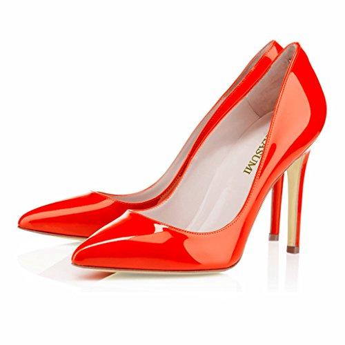 EDEFS Femmes Artisan Fashion Escarpins Délicats Classiques Elégants Pointus Des Couleurs Chaussures à talon de 100mm Orange Orange
