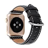 Amoyl für Apple Armbanduhr Lederband2 Hermes,  42mm/38mm Lederband für iWatch Zubehör Band (braun/schwarz/grün/khaki/blau), schwarz, 38 mm