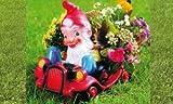 Blumen-Auto mit Zwerg 43 x 35 cm 92541 bepflanzbare Figur aus Kunststoff