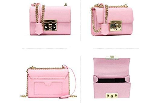 borse in pelle, di blocco per il tempo libero solido, cuoio delle donne, borsa a tracolla in pelle piano, piccolo pacchetto quadrato diagonale Pink