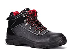 Black Hammer Männer echt Leder Sicherheitsschuhe wasserdicht Schuhe S3 Stahlkappen Arbeitsschuhe Knöchel Leder 7777 (43 EU, Schwarz (Wasserdicht))