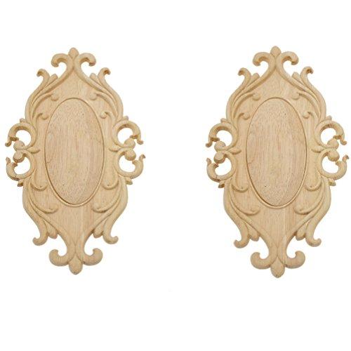 YNuth 2x Oval Holzblumen Ornamente Schnitzerei Tür Schrank Wand Möbel  Dekoration