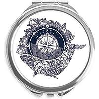 DIYthinker Brújula flor Modelo de estrellas arte espejo redondo portable de la mano del bolsillo del