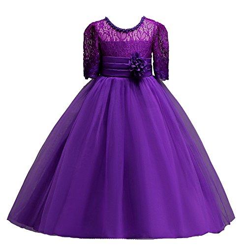 Livoral Mädchen Hochzeitskleid Partykleid Spitze Mädchen Prinzessin Brautjungfer Schönheit Ballett Tüll Smoking Kleid Kleid(Lila,140) (Red Tutu M&m Teen Kostüm)